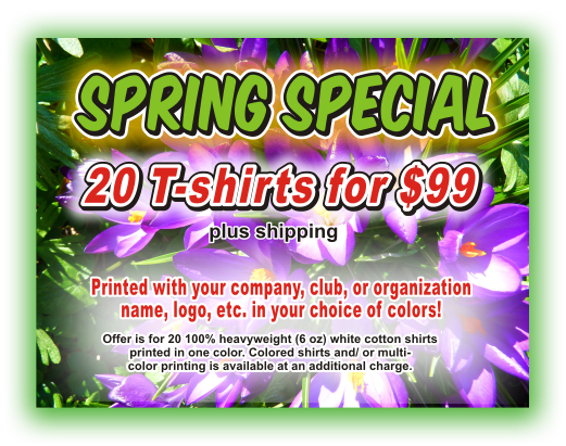 spring special - custom printed t-shirts